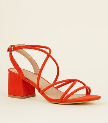 Orange Tube Strap Low Heel Sandals