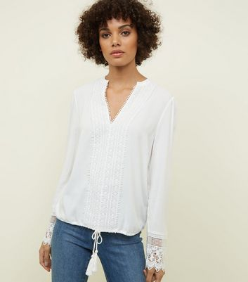 Off White Crochet Trim Long Sleeve Blouse