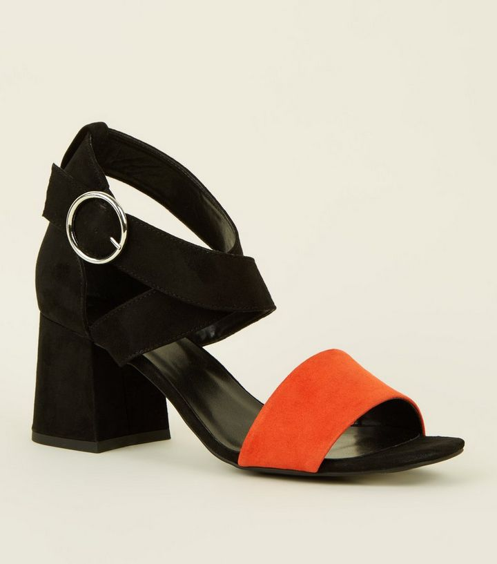 00b869e101b Orange Contrast Strap Flare Block Heel Sandals Add to Saved Items Remove  from Saved Items