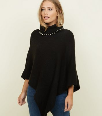 Mela Black Beaded Roll Neck Knitted Poncho