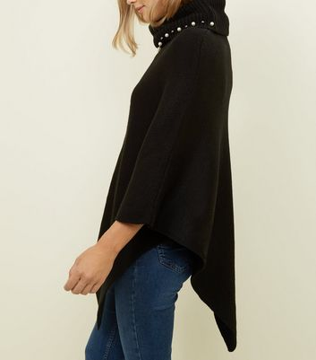 Mela Black Beaded Roll Neck Knitted Poncho New Look