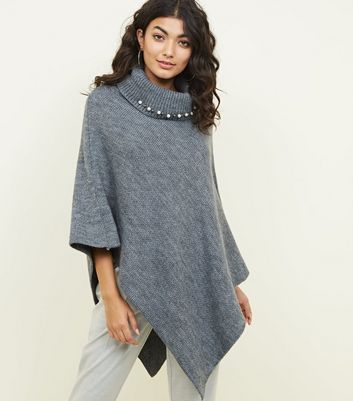 Mela Grey Beaded Roll Neck Knitted Poncho