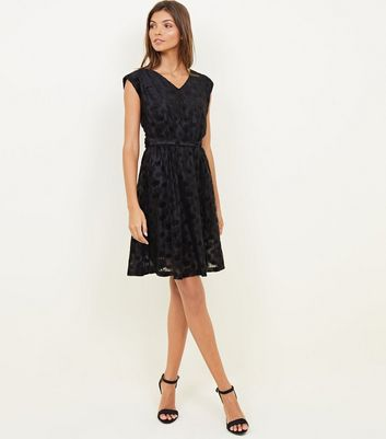 Mela Black Embossed Cap Sleeve Dress