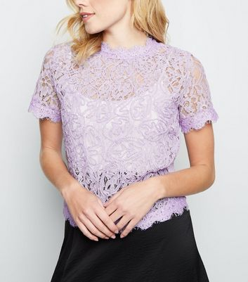 Lilac Cornelli Lace Zip Back Top