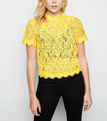 Pale Yellow Cornelli Lace Zip Back Top