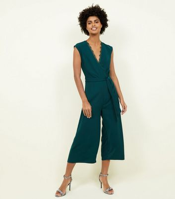Dark Green Lace Trim Wrap Culotte Jumpsuit