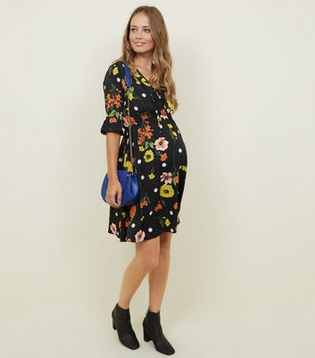 Maternity Black Floral Spot Print Bell Sleeve Dress