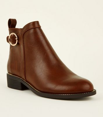 Girls Tan Leather-Look Ring Strap Ankle Boots