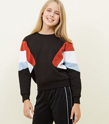 Girls Black Colour Block Diagonal Sweatshirt