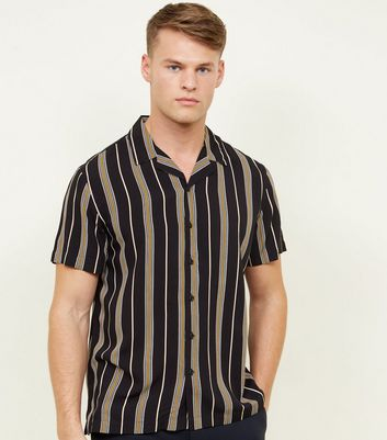 Black and Mustard Stripe Short Sleeve Shirt