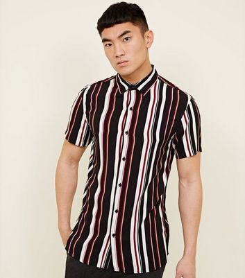 Black Multicoloured Burgundy Stripe Shirt