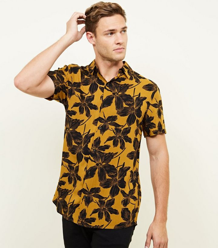 0729b074 Mustard Floral Short Sleeve Shirt Add to Saved Items Remove from Saved Items