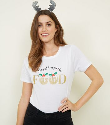 White I'm Just Here For The Food Christmas T-Shirt