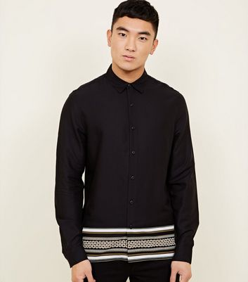 Black Baroque Border Print Long Sleeve Shirt