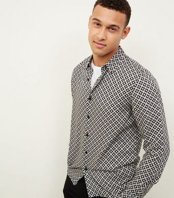 Black Mono Tile Print Shirt