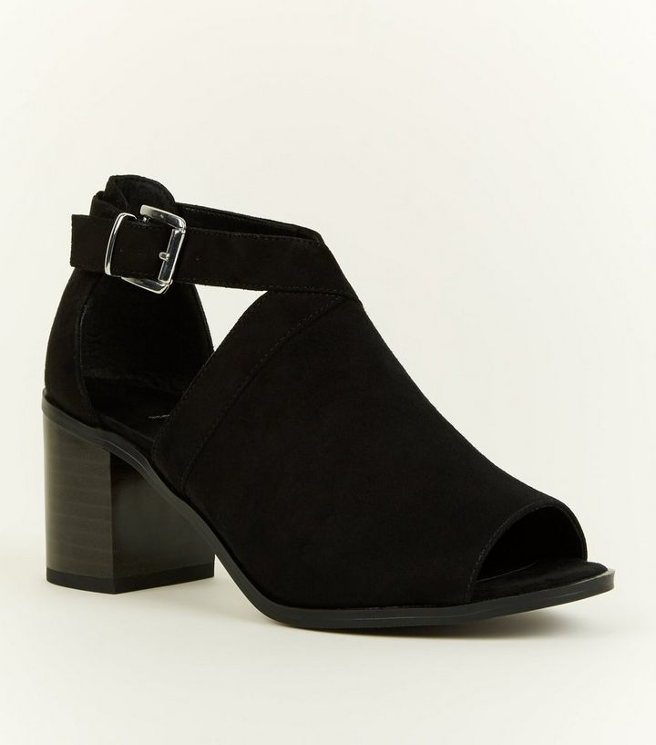 7c0b5e6ad43c Girls Black Suedette Cut Out Block Heel Shoe Boots