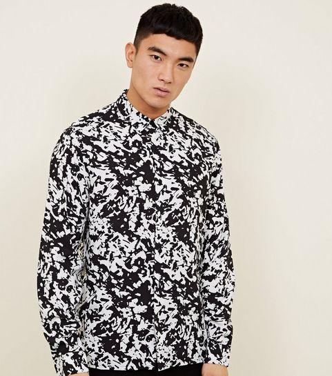black abstract print long sleeve shirt - Christmas Suits For Mens