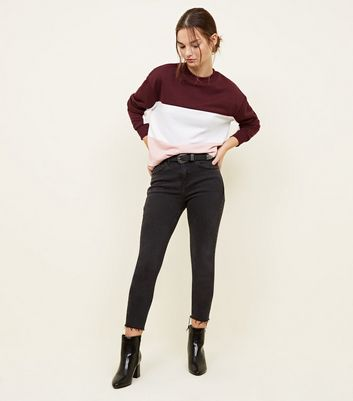Petite Burgundy Colour Block Sweatshirt
