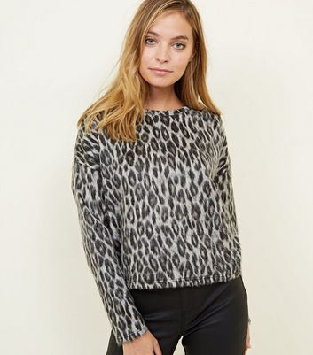 Petite Grey Leopard Print Brushed Fine Knit Top