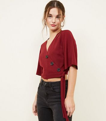 Petite Burgundy Button Front Wrap Crop Top