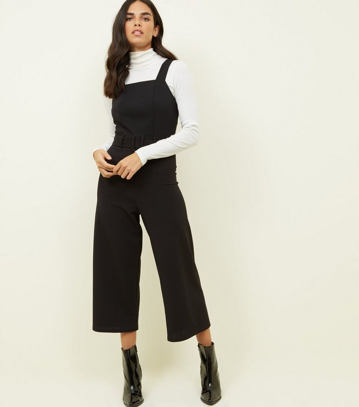 f4f21a79ef9 Black Crepe Belted Pinafore Jumpsuit