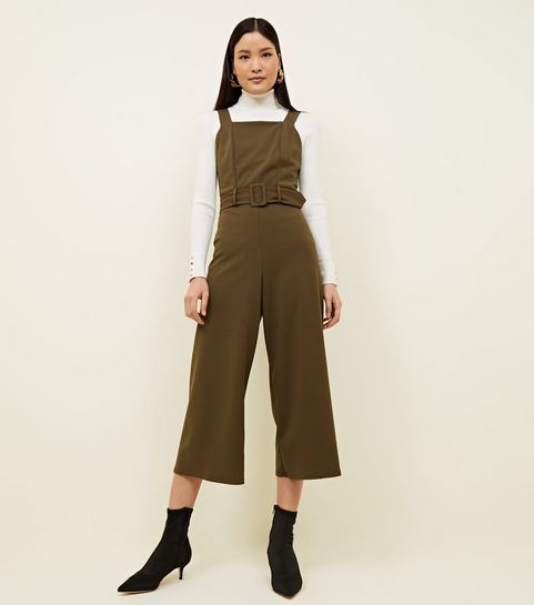 a33a479aa29 Khaki Crepe Belted Pinafore Jumpsuit · Khaki Crepe Belted Pinafore Jumpsuit  ...