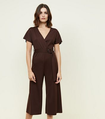 Dark Brown Ribbed Faux Horn Buckle Culotte Jumpsuit