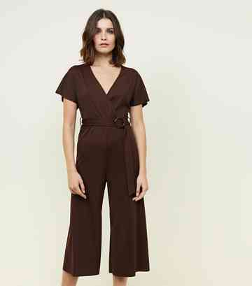 07f0ad61a14 Dark Brown Ribbed Faux Horn Buckle Culotte Jumpsuit ...