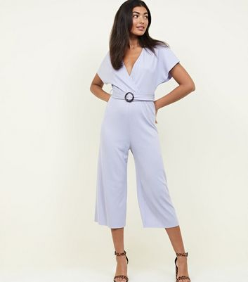 Lilac Ribbed Faux Horn Buckle Culotte Jumpsuit