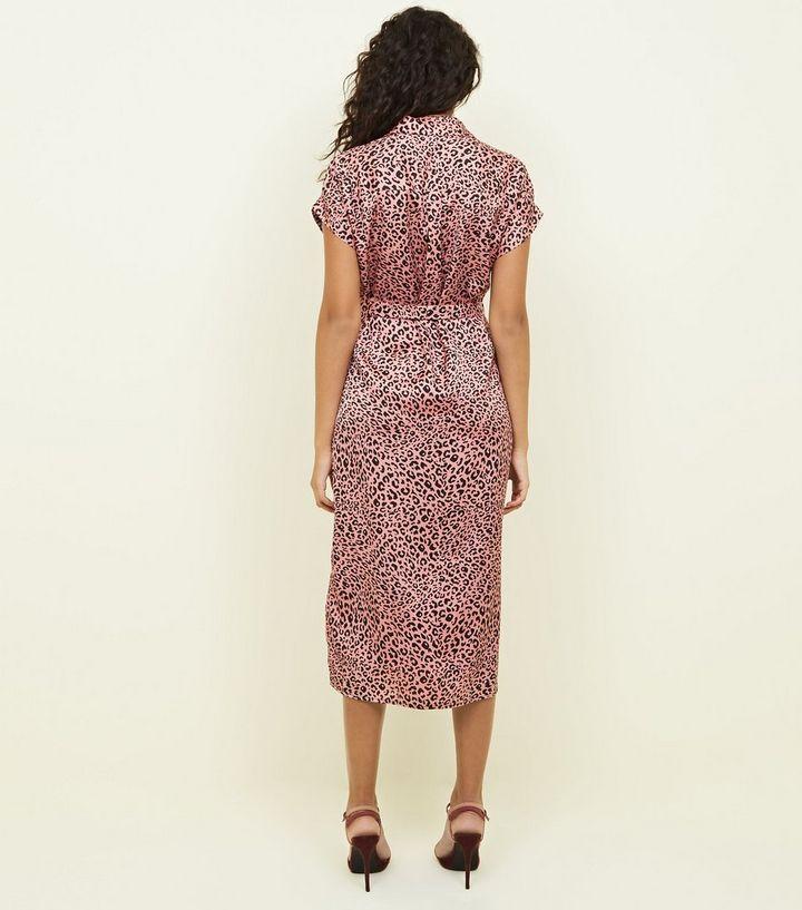 c6dbe233d7c0 ... Pink Leopard Print Satin Midi Shirt Dress. ×. ×. ×. Shop the look