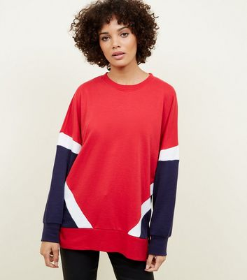 Red Colour Block Side Split Oversized Sweatshirt