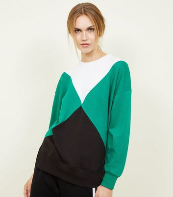 Green Triangle Colour Block Oversized Sweatshirt