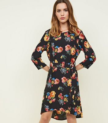 Black Floral Crepe Belted Mini Dress