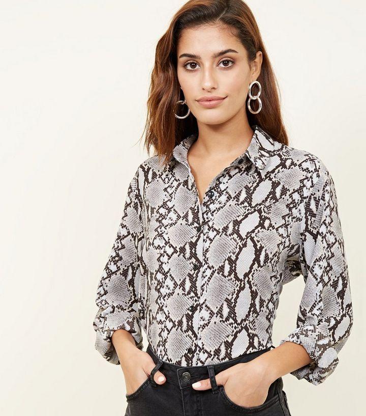 3a5070835049d Light Grey Snake Print Shirt