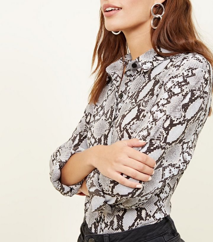 4331cb071b2c ... Women's Tops · Light Grey Snake Print Shirt. ×. ×. ×. Shop the look