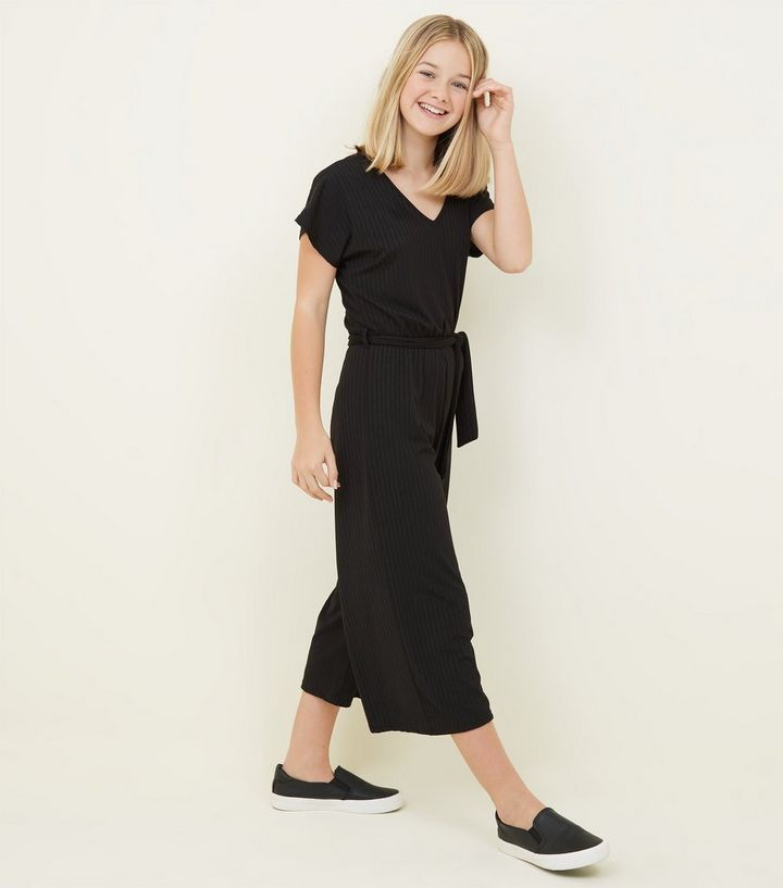 be72e80308 Girls Black Ribbed Belted Culotte Jumpsuit