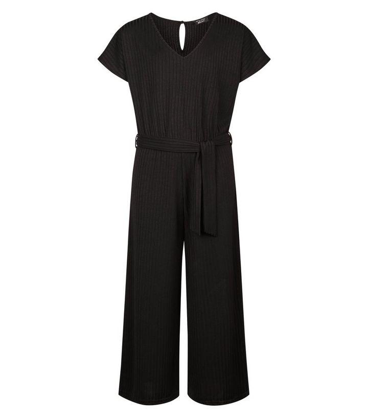405c70f206f2 Girls Black Ribbed Belted Culotte Jumpsuit