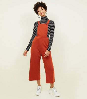 Orange Cross Hatch Jersey Cropped Dungarees