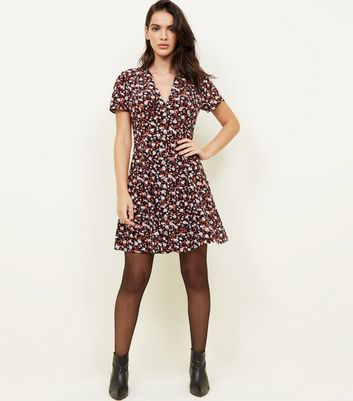 Black Floral Print Button Through Tea Dress