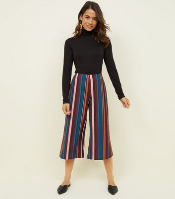 Petite Multi Stripe Scuba Cropped Trousers