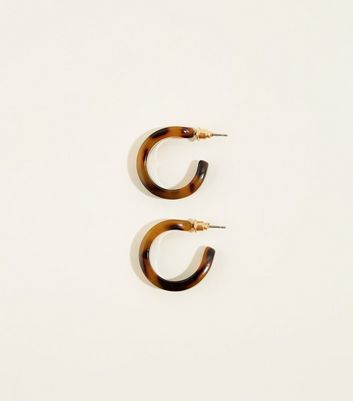 Brown Mini Faux-Tortoiseshell Hoop Earrings
