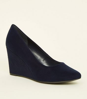 Wide Fit Navy Suedette Faux Snake Wedge Heels