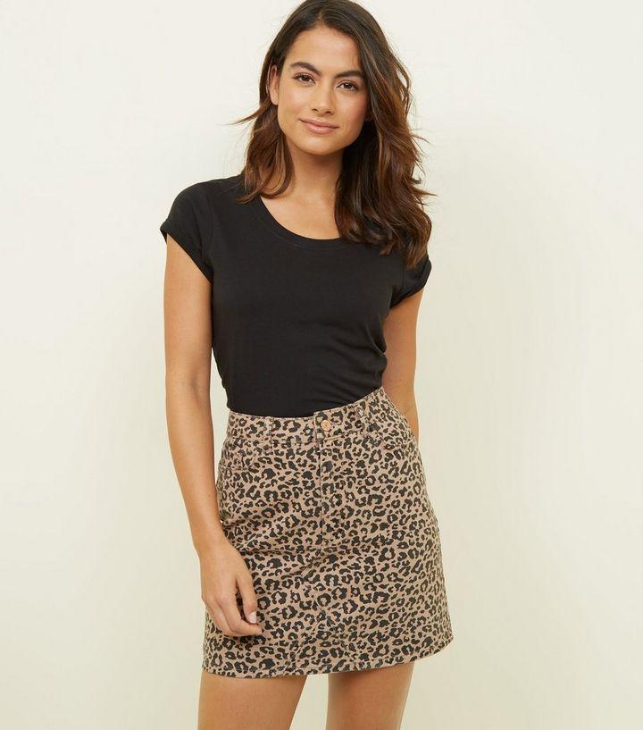 45d317f898 Petite Tan Leopard Print Denim Mini Skirt | New Look