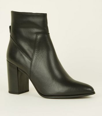 Black Leather Pointed Block Heel Boots