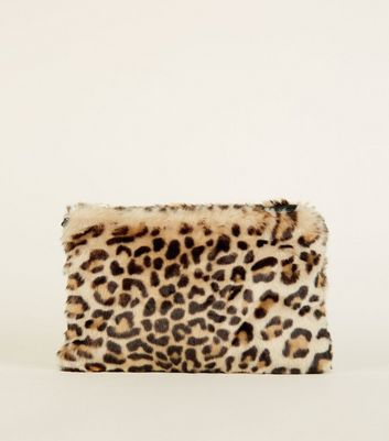 Brown Faux Leopard Fur Cross Body Bag