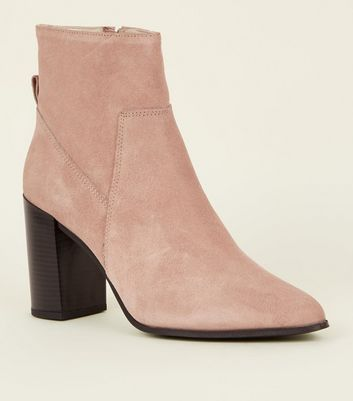 Pink Suede Pointed Block Heel Boots