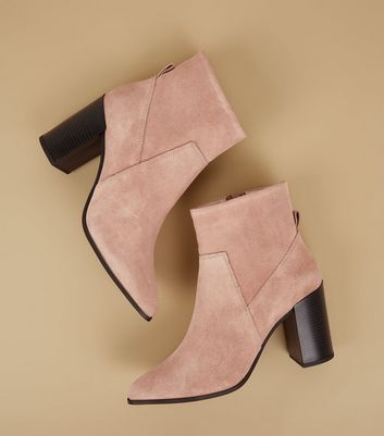 Pink Suede Pointed Block Heel Boots