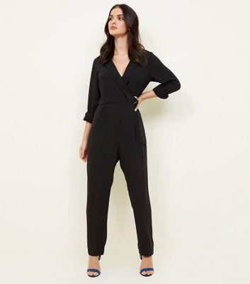 Black Tuxedo Ring Belt Jumpsuit by New Look
