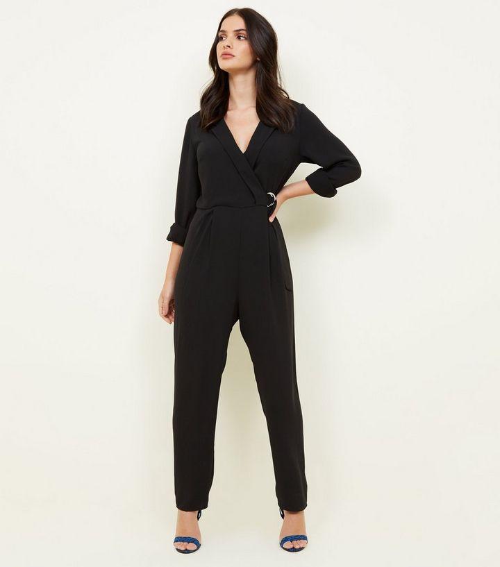 1e6b63cbd6 Black Tuxedo Ring Belt Jumpsuit