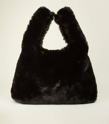 Black Faux Fur Shopper Bag
